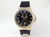 Женские часы - Ulysse Nardin - Le Locle на черном каучуковом ремешке, цвет корпуса золото, черный циферблат, фото 1