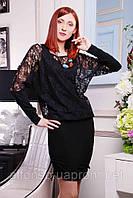 Вечернее платье-туника выполнено из трикотажа в сочетании с гипюром №313