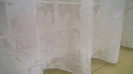 Тюль Цветы Молочные, кристалон Devore, фото 2