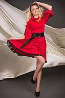 Красивое платье с клешеным низом, пояс экокожа(разные цвета)