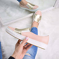 Кеды мокасины слипоны женские Amour пудра с золотом, кеды женские осенняя обувь