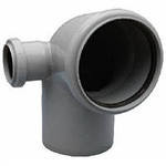 Угол для канализационной трубы 110/50*90 с отводом в лево