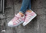 Кроссовки Adidas Superstar 1 Pink White Snake. Живое фото. Топ качество! (Реплика ААА+), фото 8