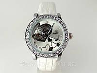 Женские часы GOER - heart- механические с автозаводом, цвет платина на белом лаковом ремешке