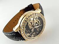Женские часы GOER - heart - механические с автозаводом, цвет золото на черном ремешке