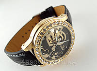 Женские часы GOER - heart - механические с автозаводом, цвет золото на черном ремешке, фото 1