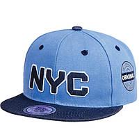 Бейсболка для мальчика с прямым козырьком NYC голубого цвета