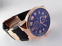 Стильные часы в стиле Nardin - Le Locle на черном каучуковом ремешке, цвет корпуса золото, черный циферблат