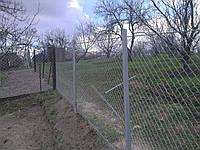 Забор из сетки рабицы с установкой
