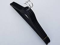 Плечики  вешалки тремпеля деревянные обрезиненные черного цвета,  длина 45 см, в упаковке 3 штуки