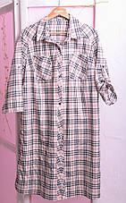 Рубашка в бежевую клетку для полных Кантри, фото 3