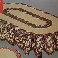 Жаккардовая скатерть 185х130 на  овальный стол в золотисто-коричневом цвете
