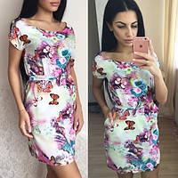 """Платье """"Бабочки"""" из натуральной ткани в расцветках"""