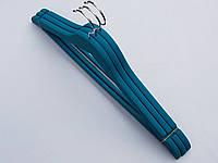 Плечики  вешалки тремпеля деревянные обрезиненные бирюзового  цвета, длина 45 см, в упаковке 3 штуки