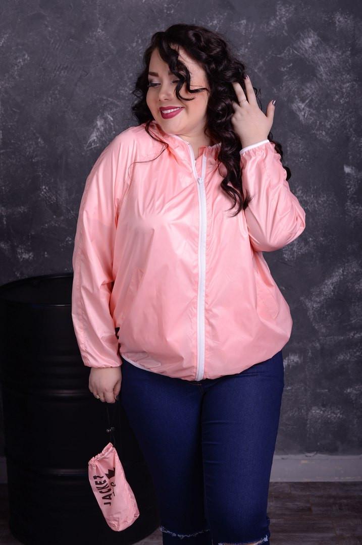 Розовая легкая ветровка с капюшоном
