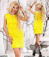 Красивое эксклюзивное летнее платье с вышивкой и пайетками, желтый цвет