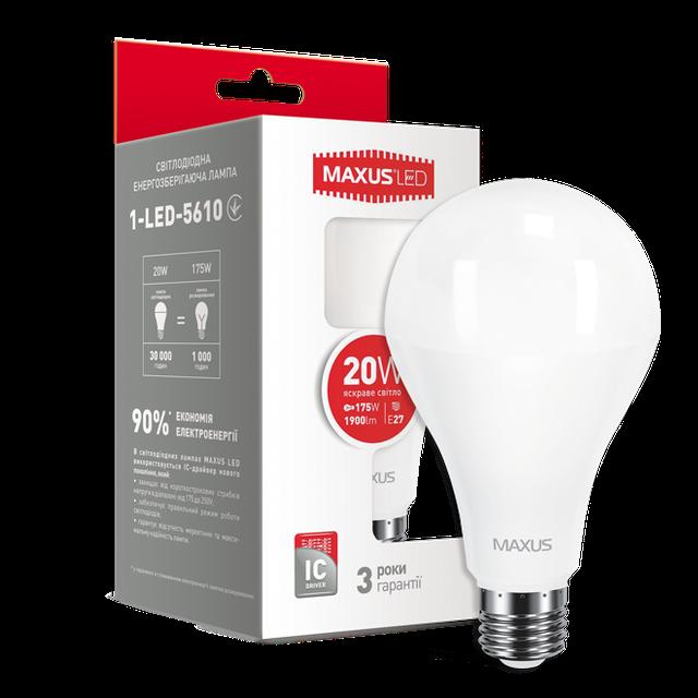 Лампа светодиодная MAXUS A80 20W E27 яркий свет