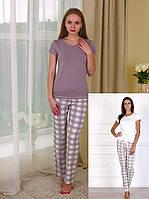 """Женская пижама со штанами в клетку (футболка+штаны) коллекция """"Sleep"""""""
