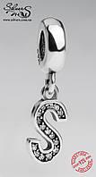 """Серебряная подвеска-шарм Пандора (Pandora) """"Буква S"""" для браслета"""
