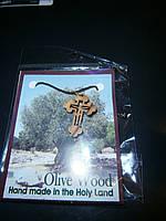 Малый крест деревянный, фигурный со шнурком с Иерусалима