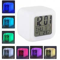 Светящиеся часы-хамелеон кубик, ночник с будильником, термометром и календарём, 7 цветов подсветки