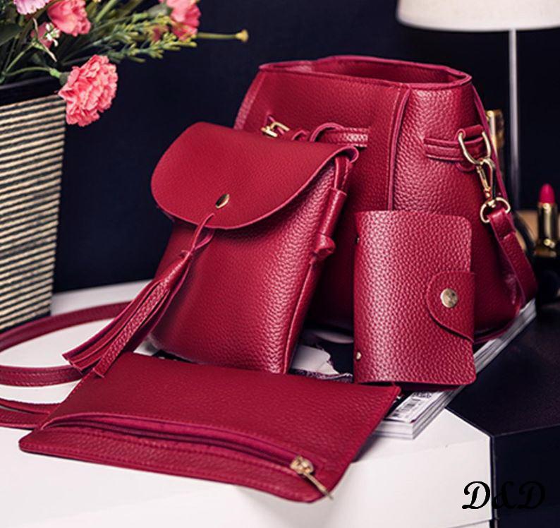 Набор женских сумок бордовый