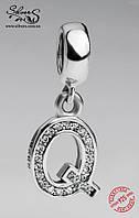 """Серебряная подвеска-шарм Пандора (Pandora) """"Буква Q"""" для браслета"""
