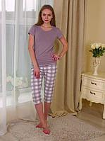 """Женская пижама с бриджами в клетку из коллекции """"Sleep"""""""