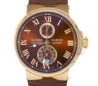 Мужские механические часы Ulysse Nardin - Le Locle 1845 с автозаводом, шоколадный цвет ремешка, фото 1