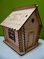 Копилка дом деревянный 13х11х11см