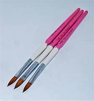 Набор кистей акриловых белая с розовыми ручками №8 B-10 YRE