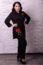 Черная стильная туника для полных 60-82 размер, фото 2