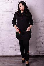 Черная стильная туника для полных Роза, фото 2