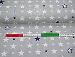 Ткань хлопковая серого цвета с разными синими и белыми звёздами № 652 б, фото 2