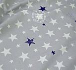Ткань хлопковая серого цвета с разными синими и белыми звёздами № 652 б, фото 3