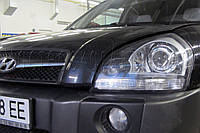 """Hyundai Tucson - установка биксеноновых линз Moonlight G6/Q5 3,0"""", в фары"""