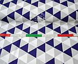 Ткань хлопковая серого цвета с треугольниками синими, серыми и белыми № 653 б, фото 2