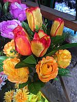 Розы и тюльпаны, Искусственные цветы, разные цвета в упаковке