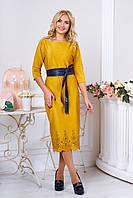 Шикарное платье миди декорированное перфорированным купоном по  низу изделия ( 7 цветов )