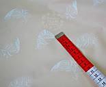 Хлопковая ткань премиум с белыми перьями на бежевом фоне № 654м б, фото 2
