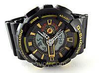 Часы мужские G-Shock - мультифункциональные, черные с желтым в прозрачном тубусе