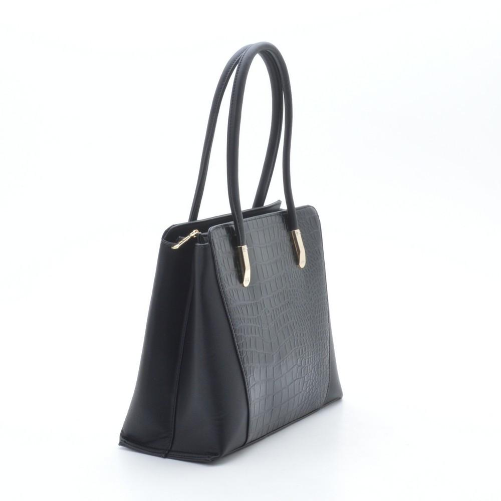 715b11cd961c Стильная женская черная сумка с вставкой с узором под крокодила -  bonny-style в Хмельницком