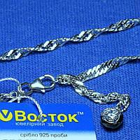 Срібний ланцюжок на ногу з камінчиком 26 см 90427205051