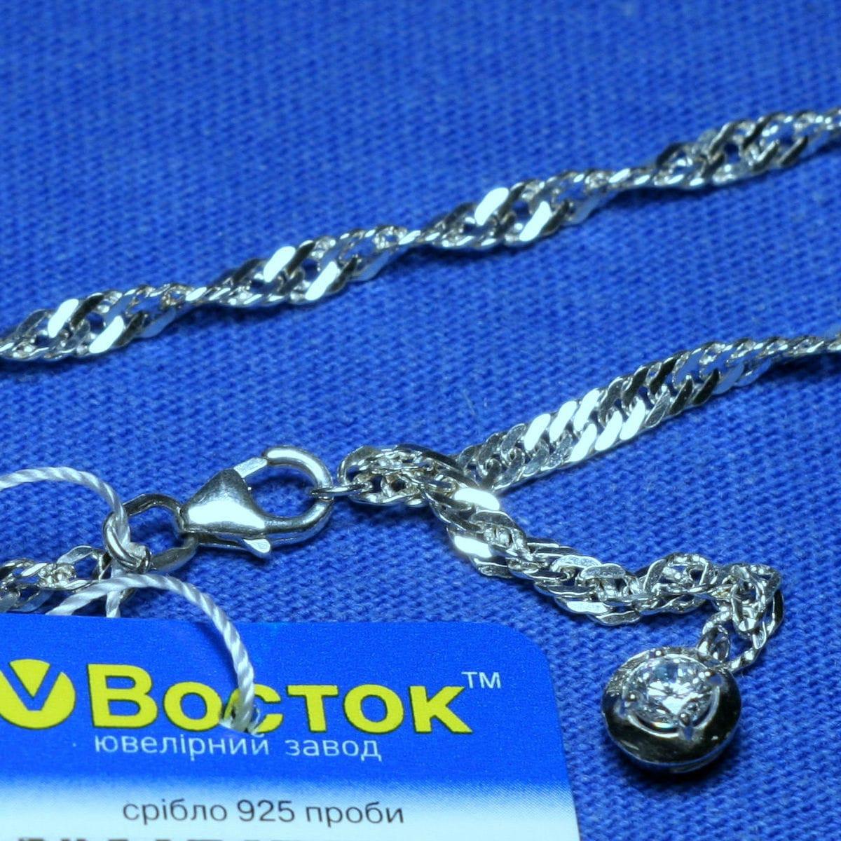 Серебряный браслет с цирконом (ножной) 27 см 90427205051, фото 1