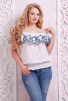 Летняя блуза больших размеров Анна белая