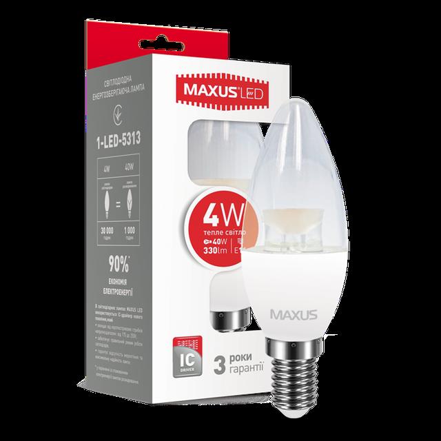 Лампа светодиодная MAXUS C37 CL-C 4W E14 мягкий свет