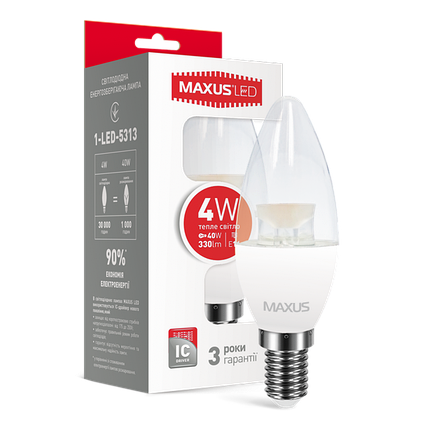 Лампа светодиодная MAXUS C37 CL-C 4W E14 мягкий свет, фото 2