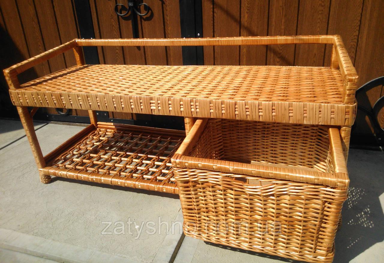 Плетеная лавка диван с ящиком для обуви