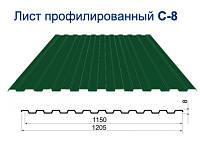 Профнастил стеновой для забора/облицовки ПС-8 Цветной глянец 0,30 мм