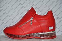 Кроссовки женские модные красного цвета на змейке